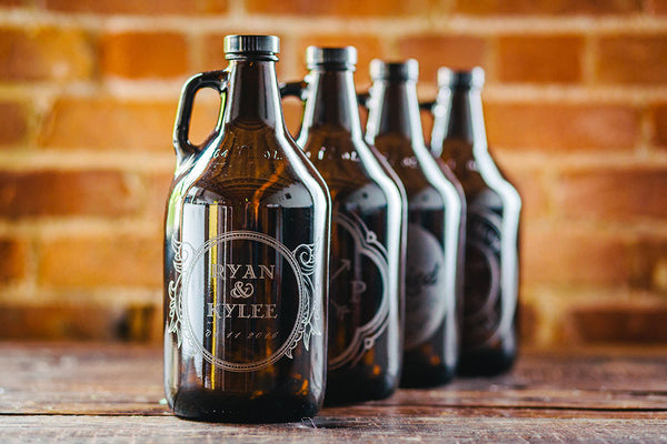 Personalized wedding gift beer growler collection