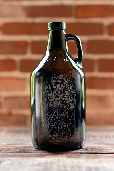 Custom engraved 64 oz growlers