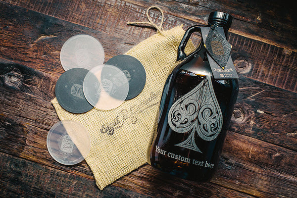Personalized spades etched beer growler