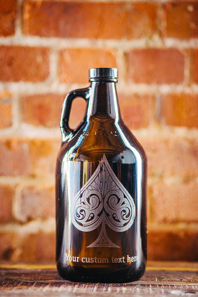Engraved spades suit growler