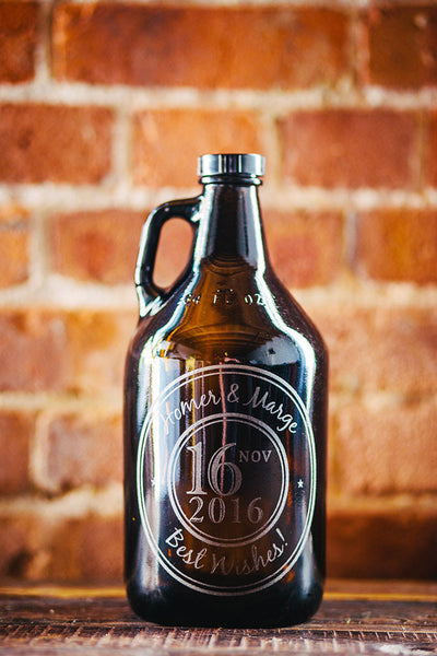 Custom wedding growler for couple