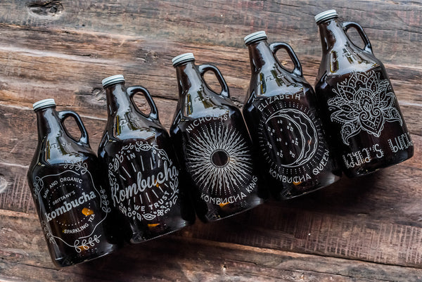 reusable engraved kombucha growler design