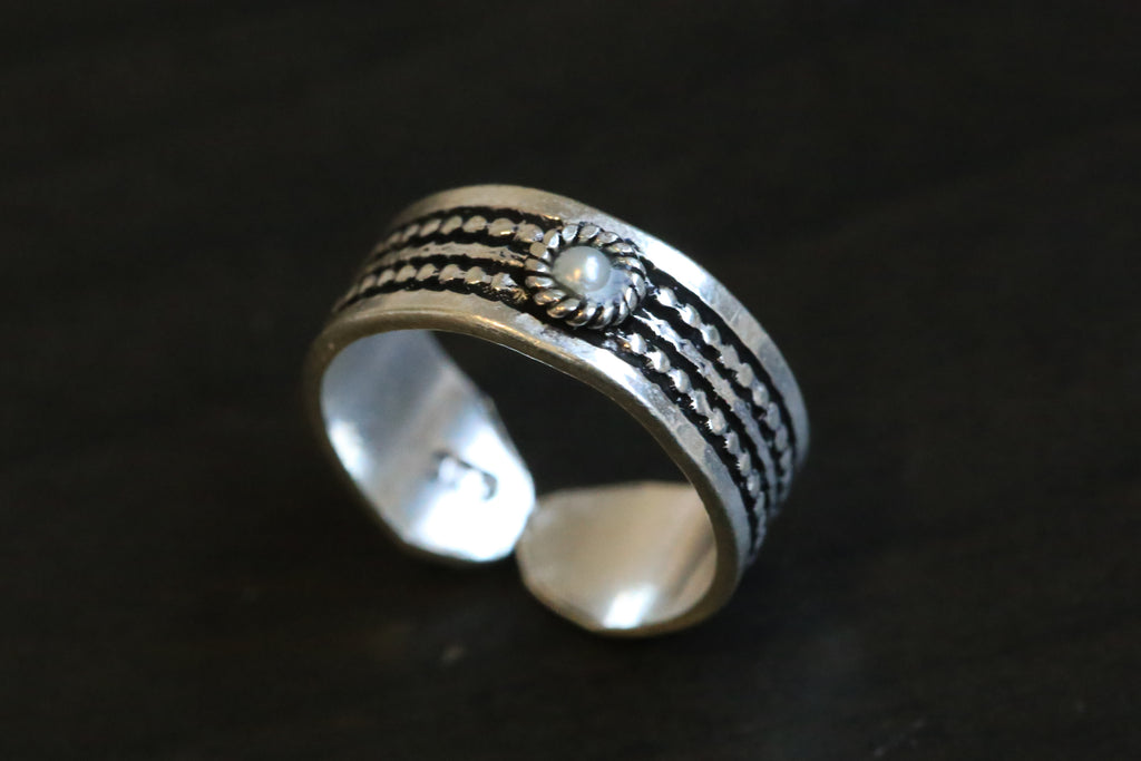 925 Silver Toe Ring - Pearl