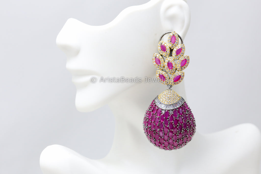 Stylish Ruby Victorian Earrings