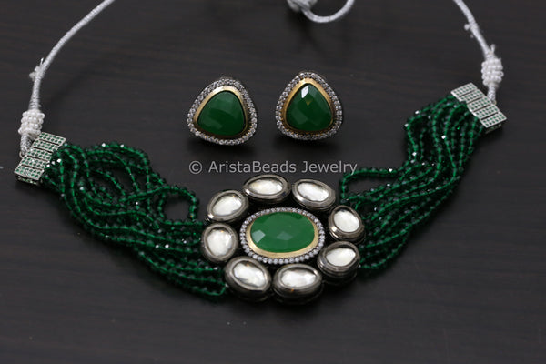 Green Contemporary Choker Set