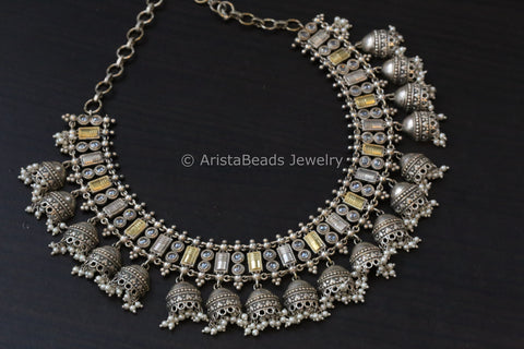 Dual Tone Jhumki Necklace - Clear