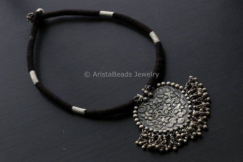 925 Sterling Black Thread Silver Necklace