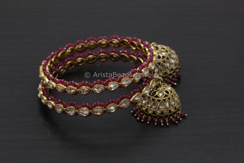Polki Jhumka Bangle Set - Red
