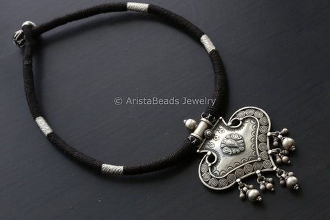 925 Sterling Silver Necklace in Black Silver Thread
