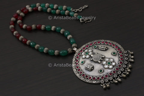 Kundan Kemp Stone Turtle Necklace