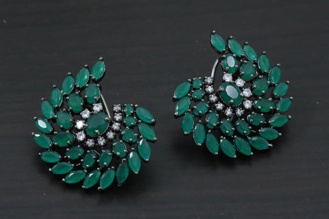 Victorian Emerald CZ  Earrings