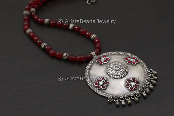 Kundan Kemp Stone Work Necklace - Ruby