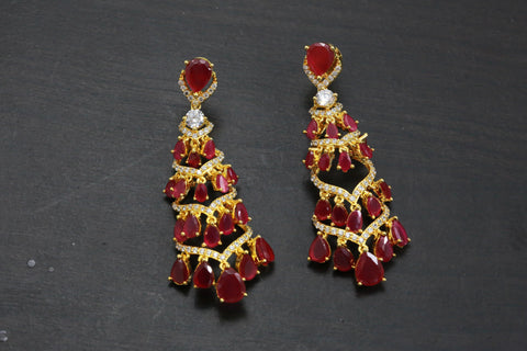 Layered Ruby CZ Earrings