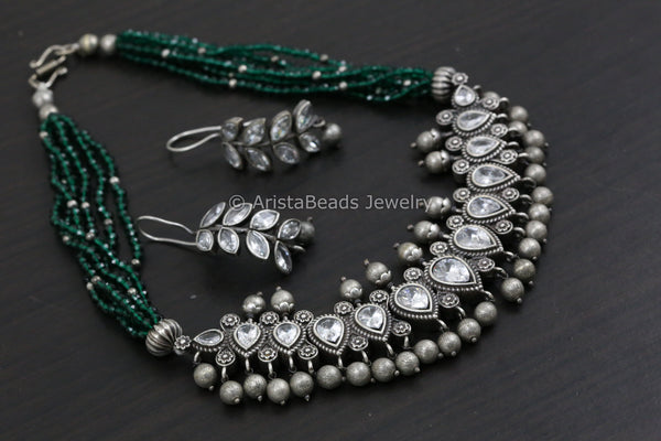 Short Necklace/Choker Set - Green