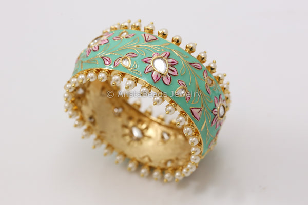 Handmade Enamel Kundan Bangle- Teal