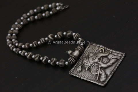 Oxidized Silver Look Ganesha Necklace