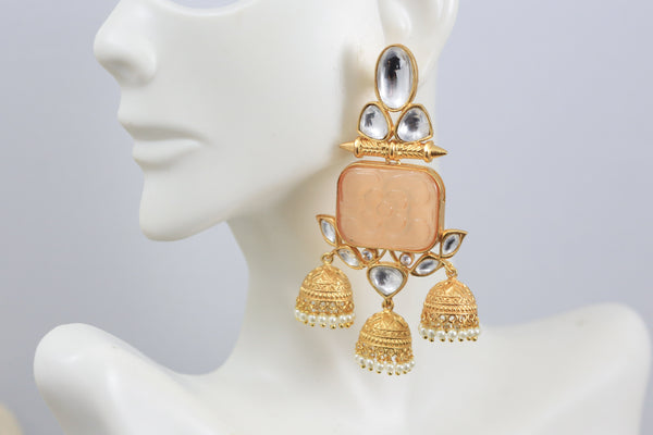 Layered Kundan Gold Jhumka -Peach