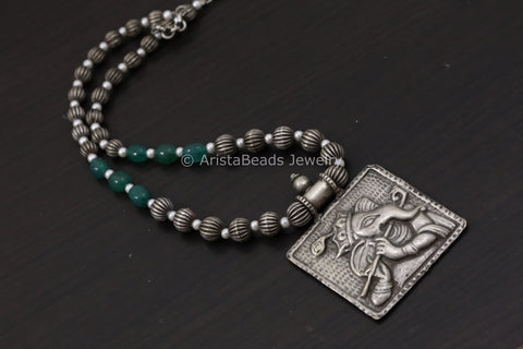Oxidized Silver Look Ganesha Necklace - Green