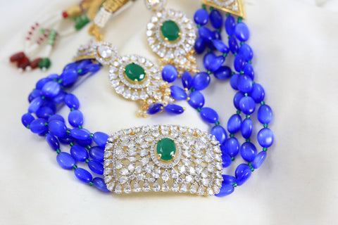 Contemporary CZ Choker Set - Ink Blue