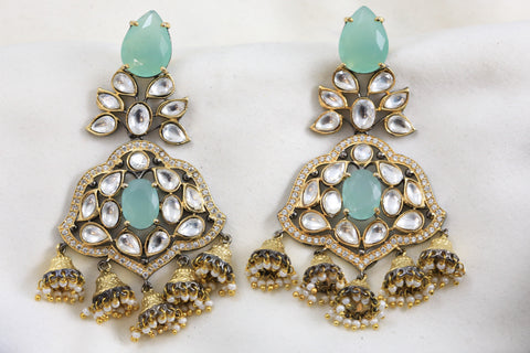 Sea Green Kundan Jhumka Earrings