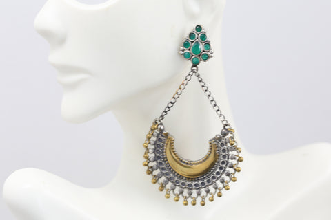 Green Long Dual Tone Chandbaali