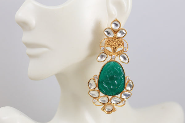 Carved Emerald Green Stone Kundan Earrings