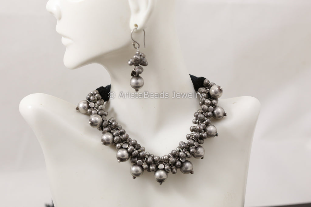 Silver Look Alike Ghungroo Necklace