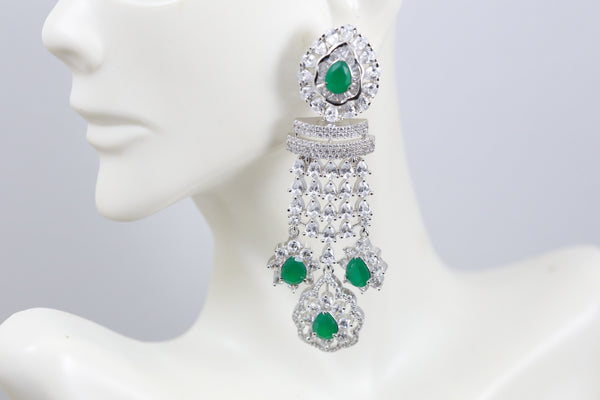Emerald CZ Drop Earrings