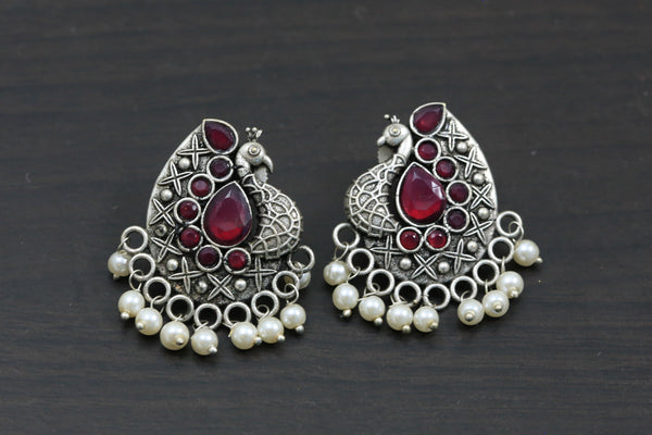 Peacock Studs - Ruby