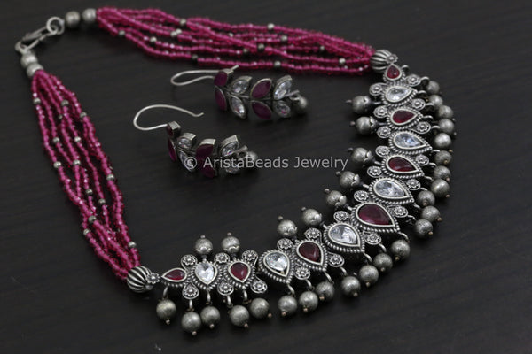 Short Necklace/Choker Set - Ruby