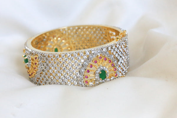 CZ Peacock Ruby Emerald Bangle Set Size 2.4 - AristaBeads Jewelry - 3