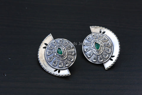 Silver Finish Half Moon Studs - Green