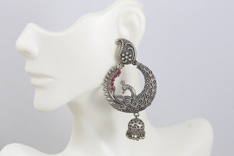 Real Silver Peacock Earrings