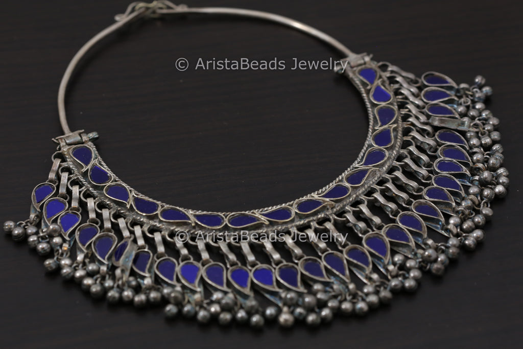 Real Glass Hasli Necklace - Blue