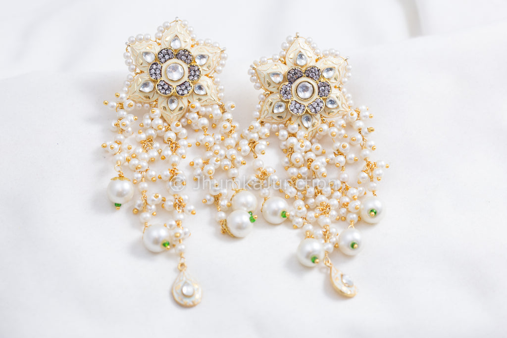 Enamel Kundan Tassel Earrings - Cream