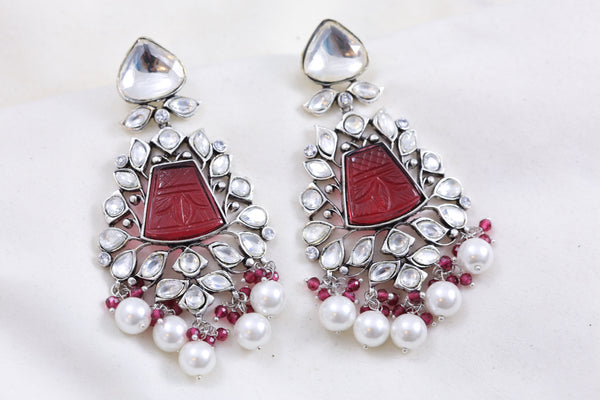 Silver Finish Kundan Chandbaali - Red