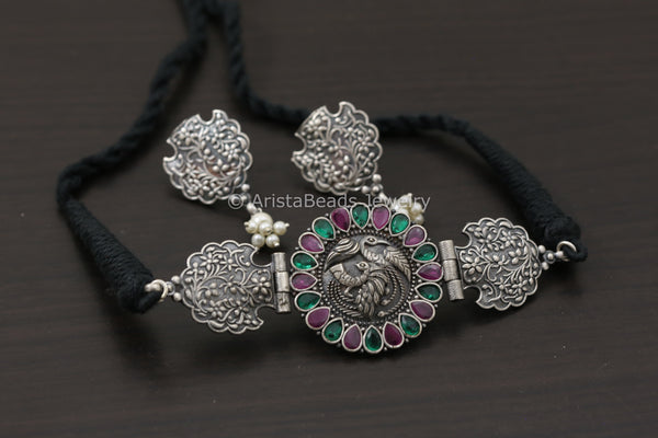 Silver Look Peacock Choker Set - Multicolor