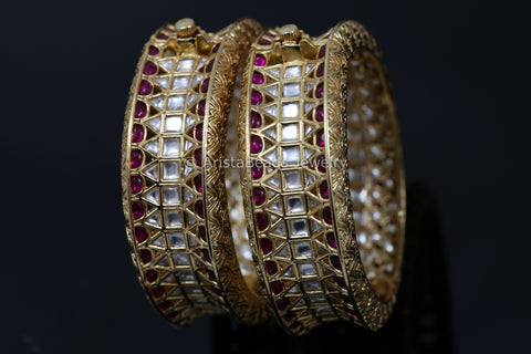 Kundan Ruby Kemp Stones Bangle Bracelet