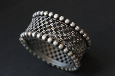 Wide Silver Look Oxidized Bangle