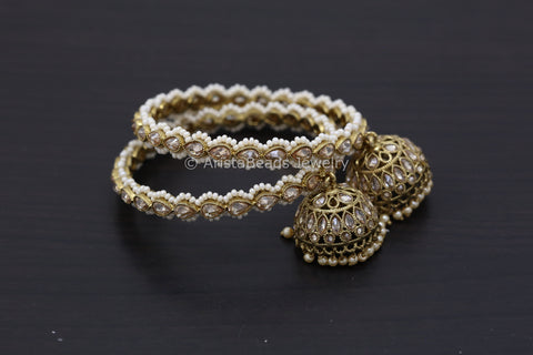 Polki Jhumka Bangle Set - Pearl