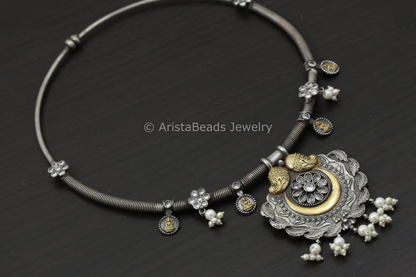 Dual Tone Clear CZ Hasli Necklace