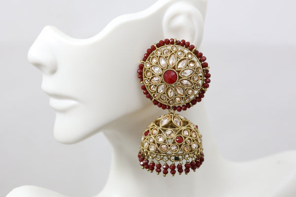Premium Quality Red Polki Jhumka Set