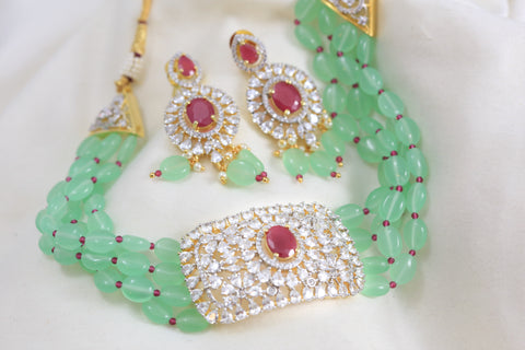 Contemporary CZ Choker Set -Sea Green