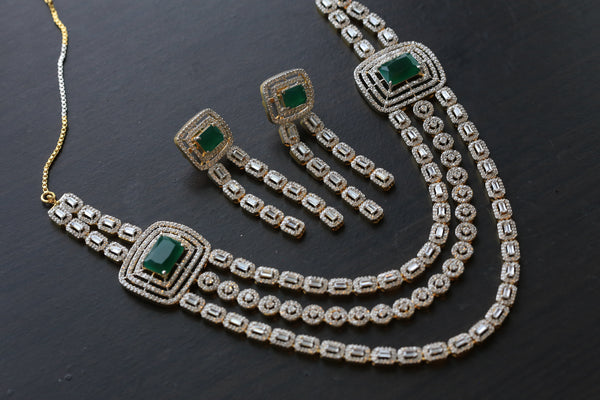 Contemporary Layered CZ Emerald Necklace