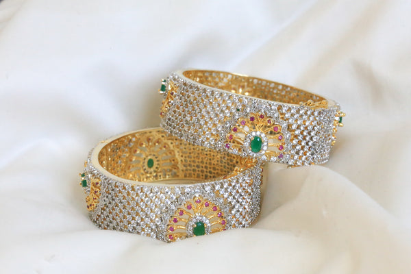 CZ Peacock Ruby Emerald Bangle Set Size 2.4 - AristaBeads Jewelry - 4