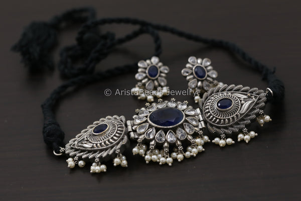 Silver Look Blue CZ Stone Choker Set