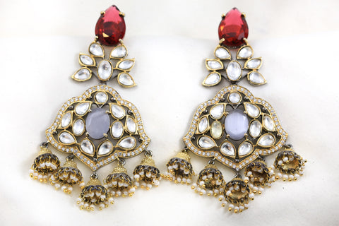 Red Gray Kundan Jhumka Earrings