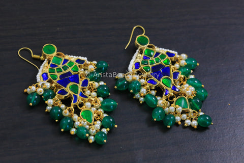 Kundan Silver LookAlike Fish Earrings - Green Blue