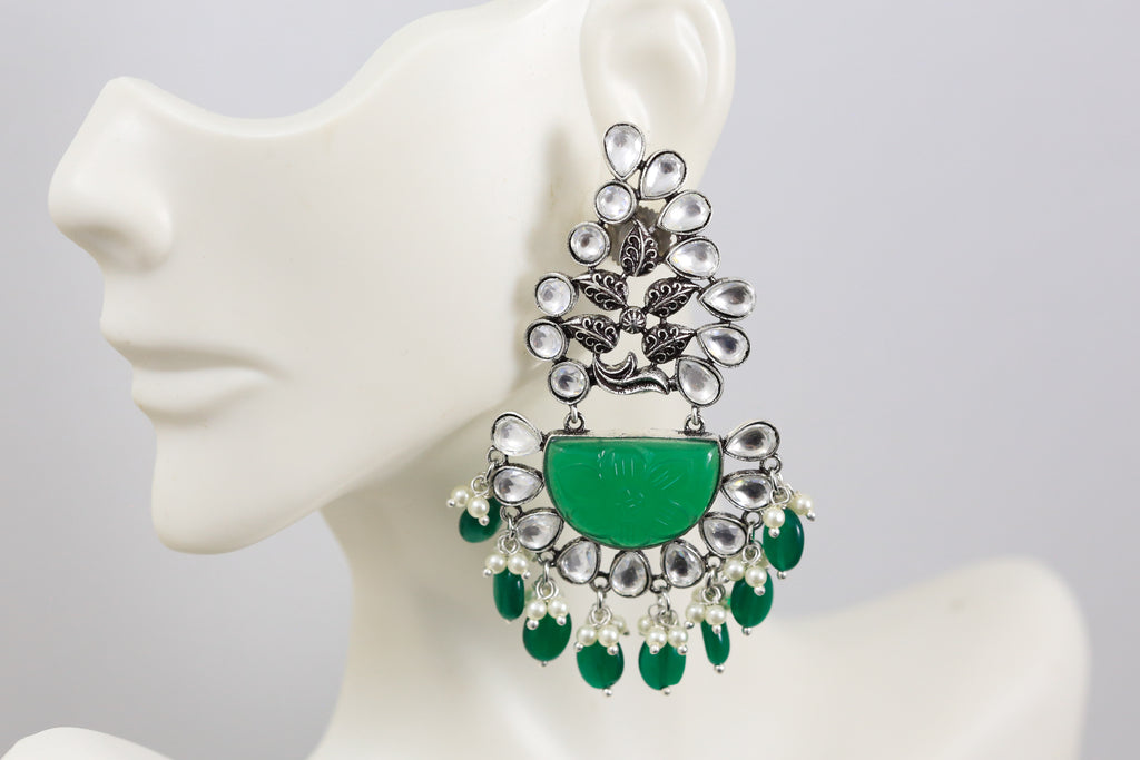 Emerald Stone Kundan Earrings - Emerald Drops