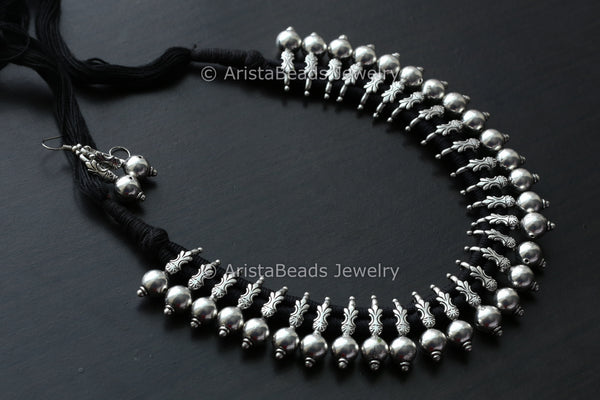 Silver Replica Necklace Set - Black Thread